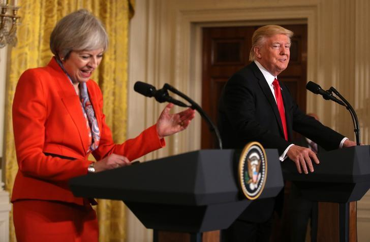British Prime Minister Theresa May and U.S. President Donald Trump participate in a joint news conference at the White House in Washington, U.S., January 27, 2017.   REUTERS/Carlos Barria