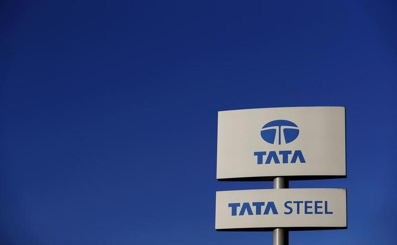 A company logo is seen outside the Tata steelworks near Rotherham in Britain, in this March 30, 2016 file photo.    REUTERS/Phil Noble/File Photo