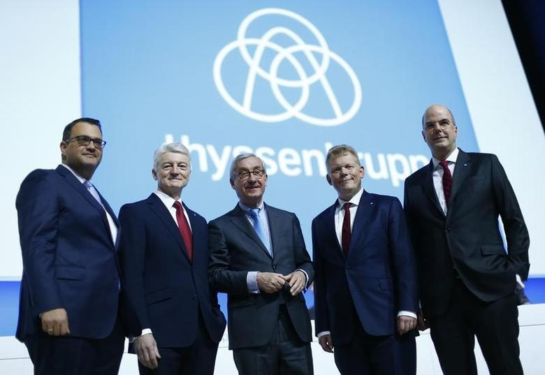 ThyssenKrupp CHRO Oliver Burkhard, CEO Heinrich Hiesinger, supervisory board chairman Ulrich Lehner, CFO Guido Kerkhoff and member of the executive board Donatus Kaufmann pose during the company's annual shareholders meeting in Bochum, Germany, January 27, 2017. REUTERS/Thilo Schmuelgen