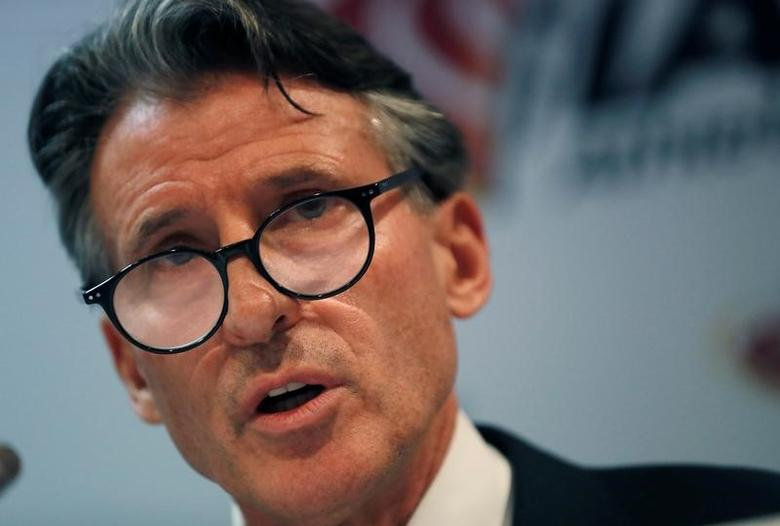 Sebastian Coe, IAAF's President, attends a press conference as part of the International Association of Athletics Federations (IAAF) council meeting in Monaco, February 6, 2017.        REUTERS/Eric Gaillard