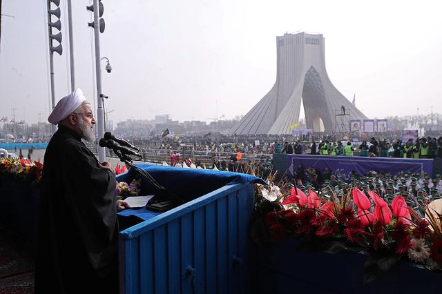 Iran's President Hassan Rouhani speaks during a ceremony marking the anniversary of Iran's 1979 Islamic Revolution, in Tehran, Iran February 10, 2017. President.ir/Handout via REUTERS