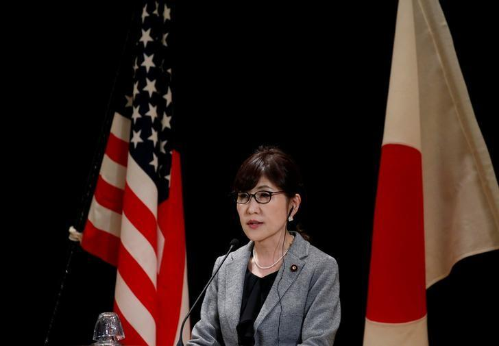 Japan's Defense Minister Tomomi Inada speaks at a joint news conference with U.S. Defense Secretary Jim Mattis after their meeting at the Defense Ministry in Tokyo, Japan, February 4, 2017. REUTERS/Toru Hanai