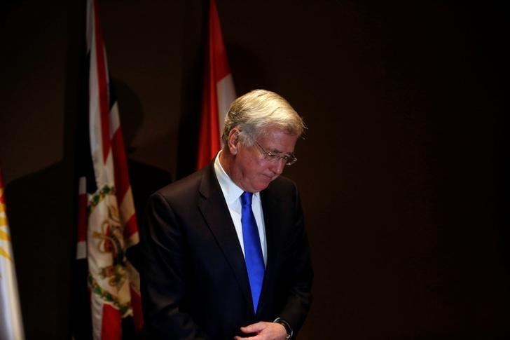 British Defence Secretary Michael Fallon leaves after his press conference in Erbil, Iraq February 11, 2017. REUTERS/Khalid al Mousily