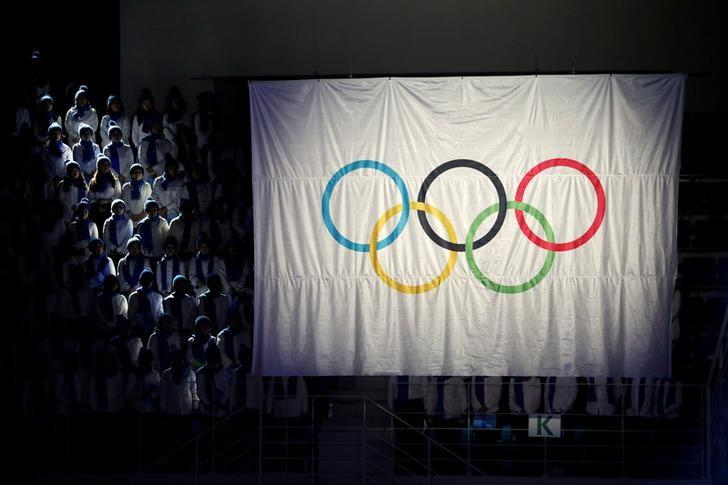 The Olympic flag is seen during the ceremony to mark a year to the 2018 PyeongChang Winter Olympic Games in Gangneung, South Korea February 9, 2017. REUTERS/Kim Hong-Ji