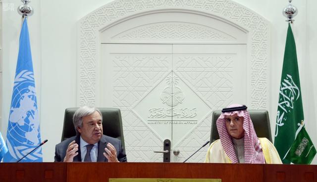 U.N. Secretary-General Antonio Guterres and Saudi Foreign Minister Adel al-Jubeir attend a joint news conference in Riyadh, Saudi Arabia February 12, 2017. Saudi Press Agency/Handout via REUTERS