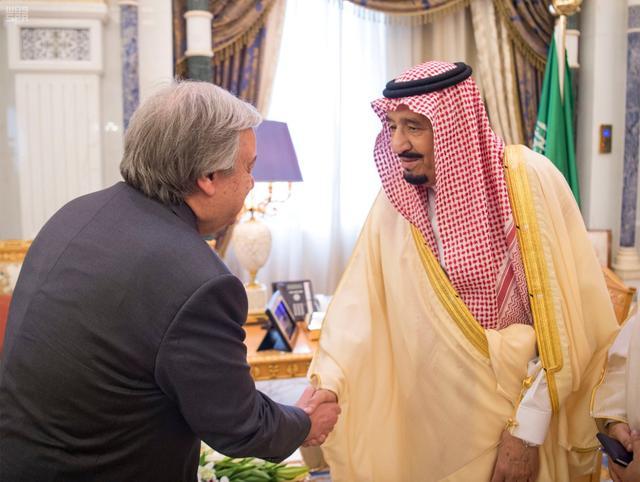 Saudi King Salman shakes hands with U.N. Secretary-General Antonio Guterres in Riyadh, Saudi Arabia February 12, 2017. Picture watermarked from source. Saudi Press Agency/Handout via REUTERS