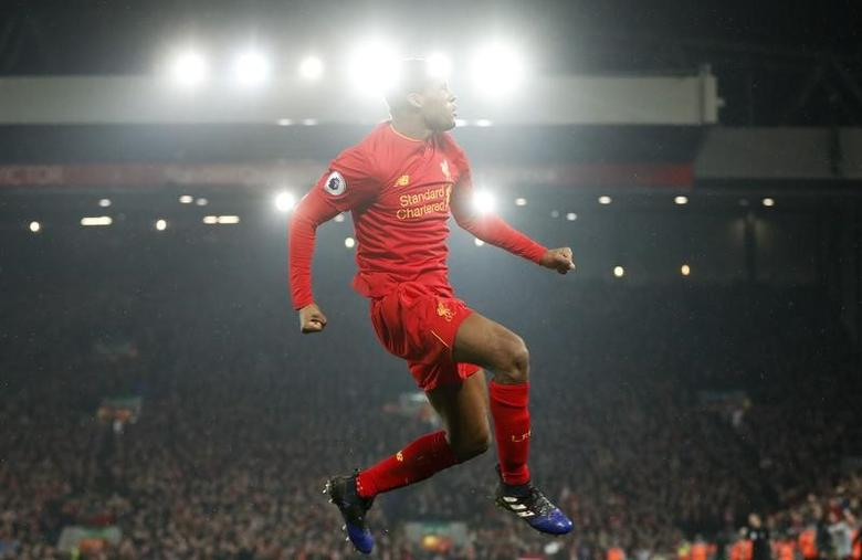 Britain Football Soccer - Liverpool v Chelsea - Premier League - Anfield - 31/1/17 Liverpool's Georginio Wijnaldum celebrates scoring their first goal  Action Images via Reuters / Carl Recine Livepic