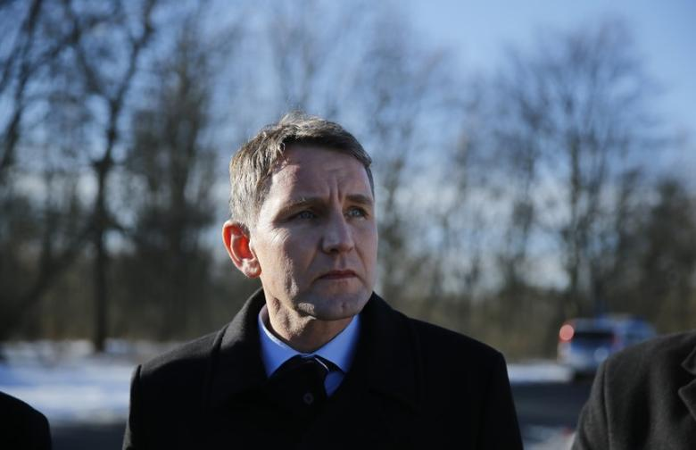 Bjoern Hoecke of the right-wing Alternative for Germany (AFD) stands outside the former Nazi concentration camp Buchenwald near Weimar, Germany, January 27, 2017.   REUTERS/Hannibal Hanschke/File Photo