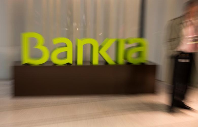 Spain's Bankia logo is seen inside bank's headquarters before a news conference to present their annual results in Madrid, Spain, January 30, 2017. REUTERS/Sergio Perez