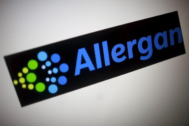FILE PHOTO -  The Allergan logo is seen in this photo illustration in Singapore November 23, 2015.  REUTERS/Thomas White/File Photo