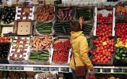 En la imagen de archivo, una mujer mirando verduras en un supermercado de Berlín, el 31 de enero de 2013. La economía de la zona euro creció menos de lo estimado inicialmente en el último trimestre del año pasado, debido a que la producción industrial registró su peor bajada en más de cuatro años en diciembre, mostraron el martes estimaciones de la oficina de estadística europea Eurostat. REUTERS/Fabrizio Bensch