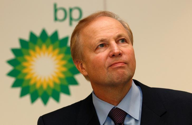 BP's Chief Executive Bob Dudley speaks to the media after year-end results were announced at the energy company's headquarters in London, Britain, February 1, 2011. REUTERS/Suzanne Plunkett/File Photo