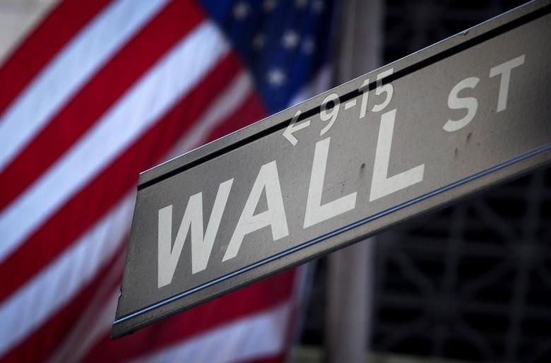 A Wall Street sign is pictured outside the New York Stock Exchange in New York, October 28, 2013.  REUTERS/Carlo Allegri/File Photo