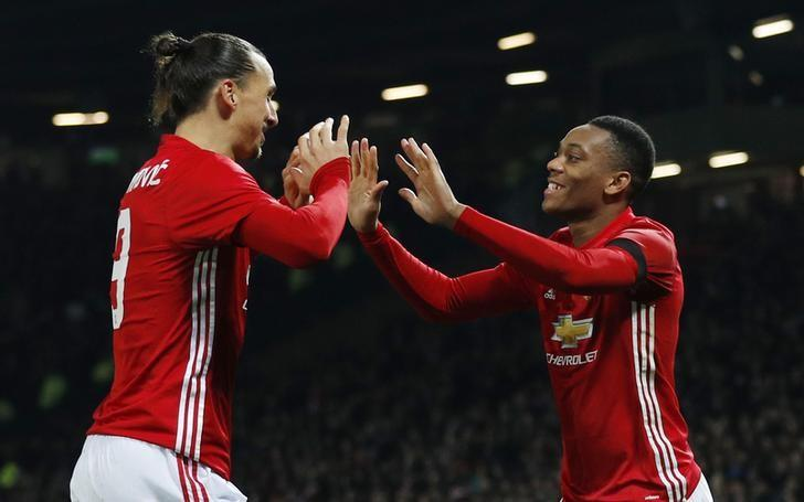 Britain Football Soccer - Manchester United v West Ham United - EFL Cup Quarter Final - Old Trafford - 30/11/16 Manchester United's Anthony Martial celebrates scoring their second goal with Zlatan Ibrahimovic Reuters / Phil Noble/ Livepic/ Files