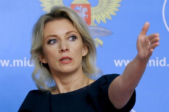 2月15日、ロシア外務省のザハロワ報道官(写真)は、ロシアが2014年に併合したクリミア半島について、ウクライナに返還することはないと記者会見で言明した。写真はモスクワで2015年10月撮影(2017年 ロイター/Maxim Shemetov)