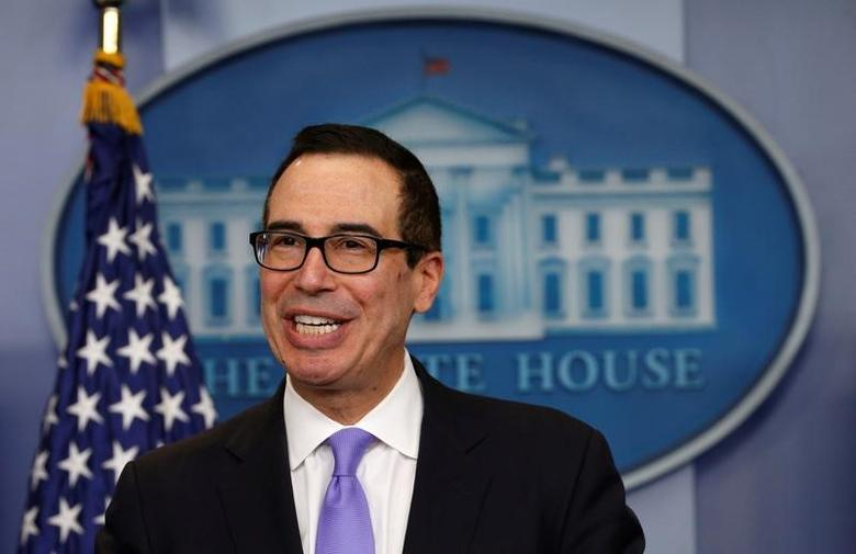 U.S. Treasury Secretary Steven Mnuchin speaks at a press briefing at the White House in Washington, U.S., February 14, 2017.  REUTERS/Kevin Lamarque