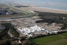 """An aerial view shows the site known as the """"Jungle"""" migrant camp after its evacuation and dismantlement in Calais, France, November 3, 2016.  REUTERS/Pascal Rossignol"""