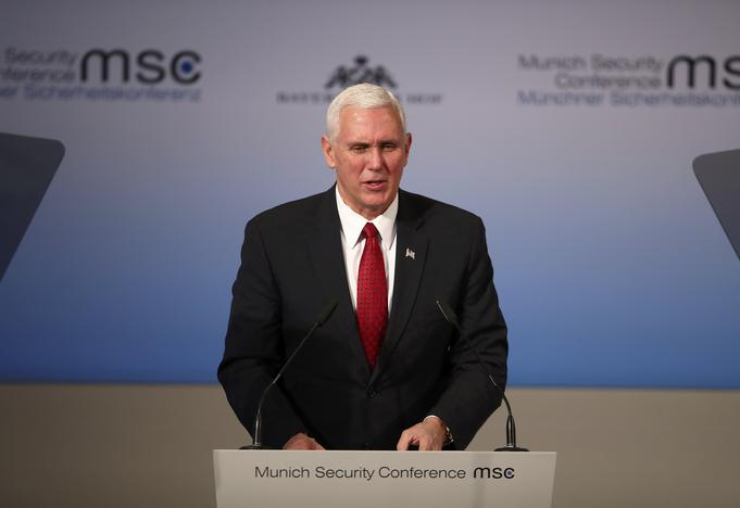 U.S. Vice President Mike Pence delivers his speech during the 53rd Munich Security Conference in Munich, Germany, February 18, 2017. REUTERS/Michael Dalder