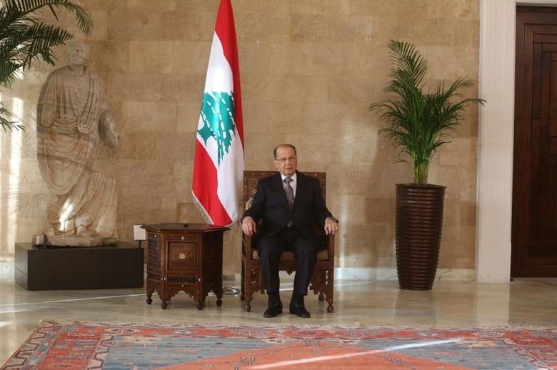 Lebanese president Michel Aoun sits on the president's chair inside the presidential palace in Baabda, near Beirut, Lebanon October 31, 2016. REUTERS/Aziz Taher