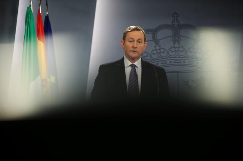 Ireland's Prime Minister Enda Kenny attends a joint news conference with Spain's Prime Minister Mariano Rajoy (not pictured) at Moncloa Palace in Madrid, Spain, January 12, 2017. REUTERS/Susana Vera/Files