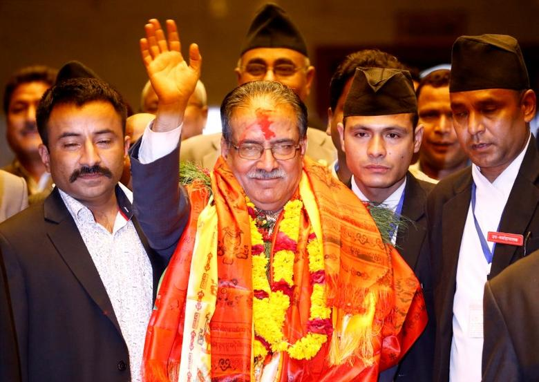 FILE PHOTO: Nepal's newly elected Prime Minister Pushpa Kamal Dahal, also known as Prachanda, waves towards the media after he was elected Nepal's 24th prime minister in 26 years, in Kathmandu, Nepal, August 3, 2016. REUTERS/Navesh Chitrakar/File Photo