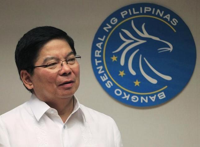 2月21日、フィリピン中央銀行のテタンコ総裁(写真)は、為替相場の過度な変動を抑制する用意があるとあらためて表明した。写真はマニラで2014年1月撮影(2017年 ロイター/Romeo Ranoco)