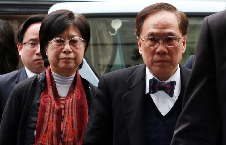 Former Hong Kong Chief Executive Donald Tsang, his wife Selina and son Thomas, arrive at the High Court in Hong Kong, China February 20, 2017. REUTERS/Bobby Yip