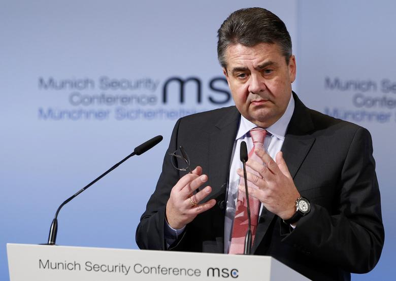 Germany's Foreign Minister Sigmar Gabriel delivers his speech during the 53rd Munich Security Conference in Munich, Germany, February 18, 2017.    REUTERS/Michaela Rehle