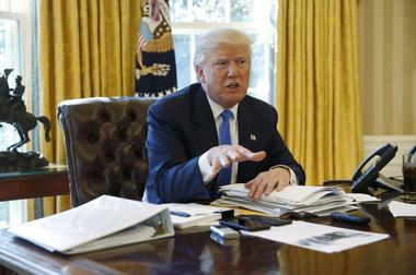 U.S. President Trump is interviewed by Reuters in the Oval Office at the...