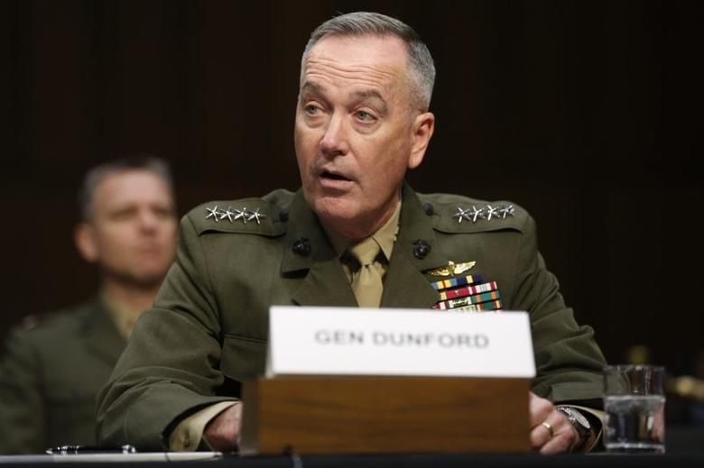 File Photo: Joint Chiefs Chairman U.S. Marine General Joseph Dunford testifies on operations against the Islamic State, on Capitol Hill in Washington, U.S., April 28, 2016. REUTERS/Jonathan Ernst