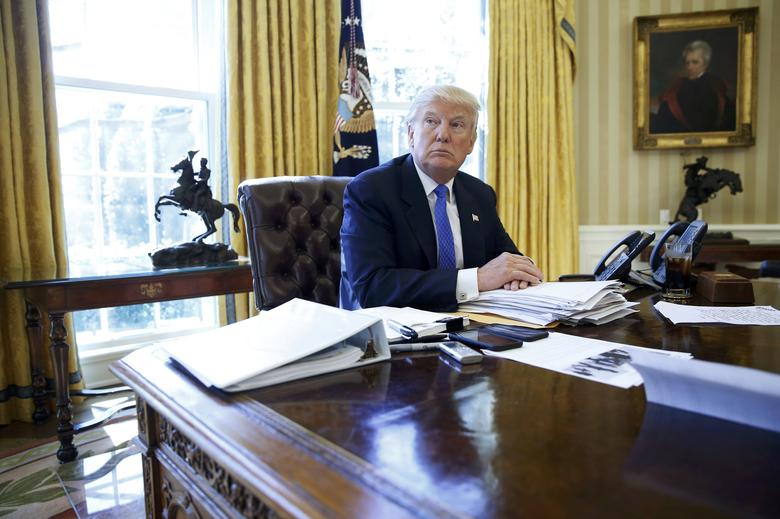 "U.S. President <a href=""http://www.amazon.com/b/?node=2971654011&tag=0202020202-20"">Donald Trump</a> is interviewed by Reuters in the Oval Office at the White House in Washington, U.S., February 23, 2017.  REUTERS/Jonathan Ernst"