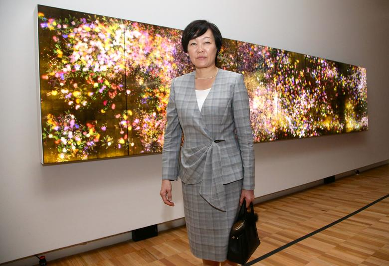 Akie Abe, wife of Japanese Prime Minister Shinzo Abe, walks past an installation from a Japanese artist while visiting the Art Gallery of New South Wales in Sydney, Australia, January 14, 2017.     REUTERS/Rick Rycroft/POOL/Files