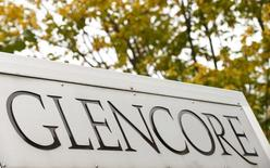 The logo of commodities trader Glencore is pictured in front of the company's headquarters in Baar, Switzerland, September 30, 2015.    REUTERS/Arnd Wiegmann