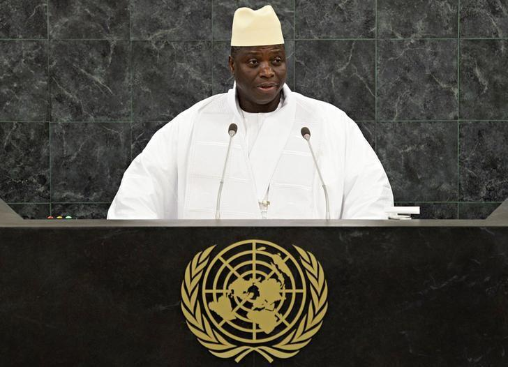 Gambian President Yahya Jammeh addresses the 68th United Nations General Assembly at U.N. headquarters in New York, September 27, 2013.            REUTERS/Andrew Burton/Pool/File Photo