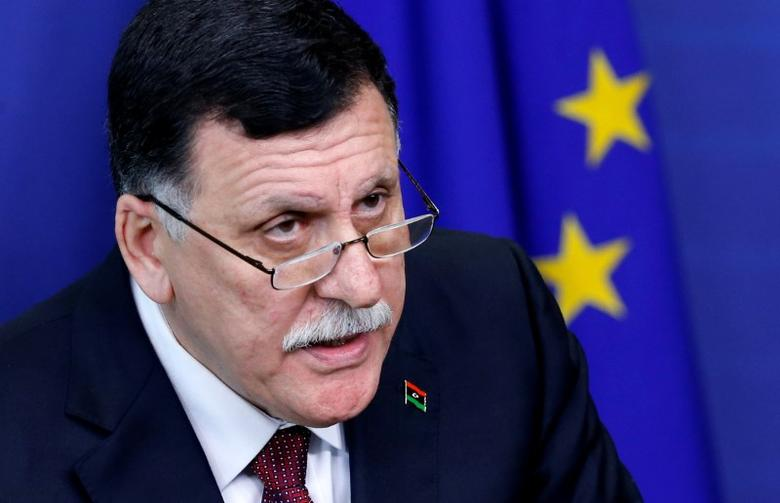 Libya's Prime Minister Fayez al-Sarraj addresses a joint news conference with European Union foreign policy chief Federica Mogherini (unseen) at the EU Commission headquarters in Brussels, Belgium February 2, 2017.   REUTERS/Francois Lenoir