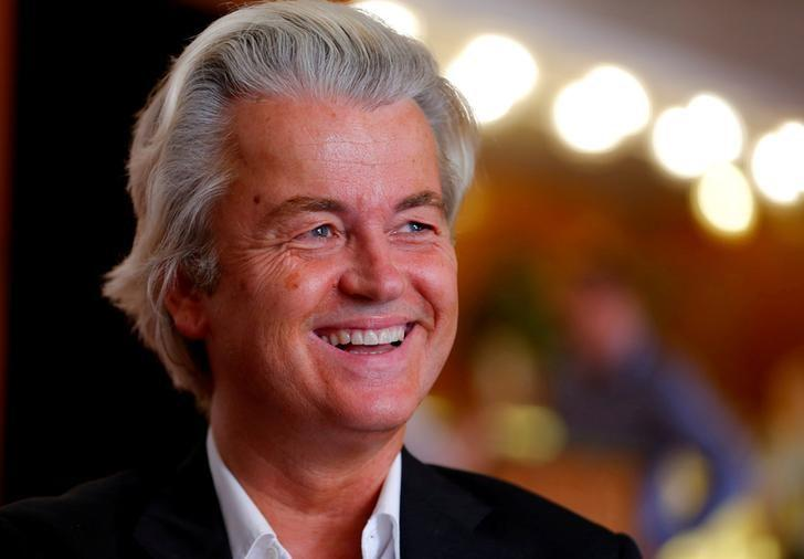 FILE PHOTO: Dutch far-right Party for Freedom (PVV) leader Geert Wilders answers questions during a Reuters interview in Budapest, Hungary June 24, 2016. REUTERS/Laszlo Balogh/File Photo