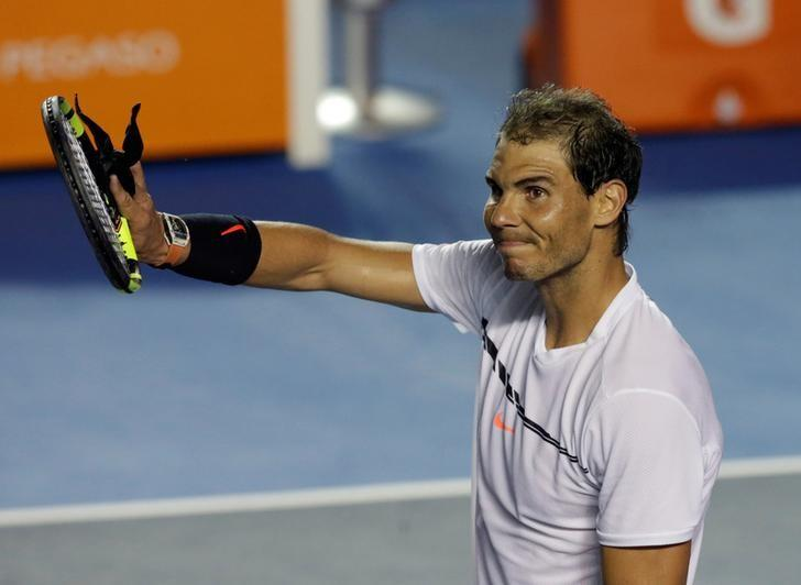 Tennis - Mexican Open - Men's Singles - Second Round - Acapulco, Mexico 01/03/17. Spain's Rafael Nadal celebrates his victory against Italy's Paolo Lorenzi. REUTERS/Henry Romero