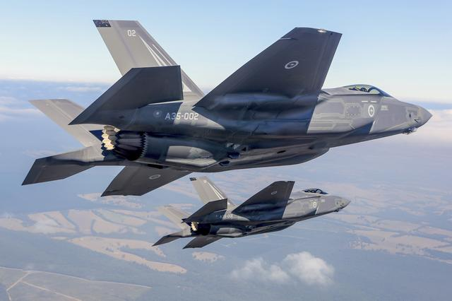 Two Lockheed Martin Corp F-35 stealth fighter jets flies during a display at the Avalon Airshow in Victoria, Australia, March 3, 2017.    Australian Defence Force/Handout via REUTERS