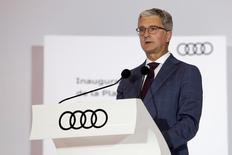 Rupert Stadler, CEO of VW's Audi luxury car division, delivers a speech during the opening of a new plant in San Jose Chiapa, in Puebla state, Mexico, September 30, 2016. REUTERS/Imelda Medina