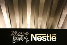 The Nestle logo is pictured on the company headquarters entrance building in Vevey, Switzerland February 18, 2016. REUTERS/Pierre Albouy
