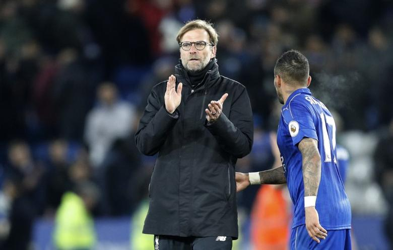 Britain Football Soccer - Leicester City v Liverpool - Premier League - King Power Stadium - 27/2/17 Liverpool manager Juergen Klopp applauds fans after the game  Reuters / Darren Staples Livepic