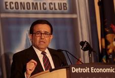 Ildefonso Guajardo Villarreal, secretario de Economía de México, habla ante el Club Económico de Detroit, Estados Unidos. 3 de marzo de 2017. México está dispuesto a negociar cambios al Tratado de Libre Comercio de América del Norte (TLCAN) para modernizar el acuerdo comercial de 23 años que integra a Estados Unidos, Canadá y México, dijo el viernes Guajardo. REUTERS/Rebecca Cook