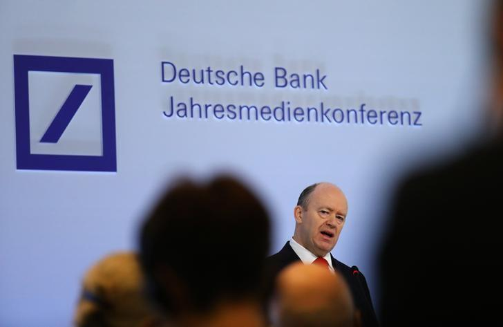Deutsche Bank CEO John Cryan addresses the bank's annual news conference in Frankfurt, Germany, February 2, 2017.    REUTERS/Kai Pfaffenbach - RTX2ZA8R