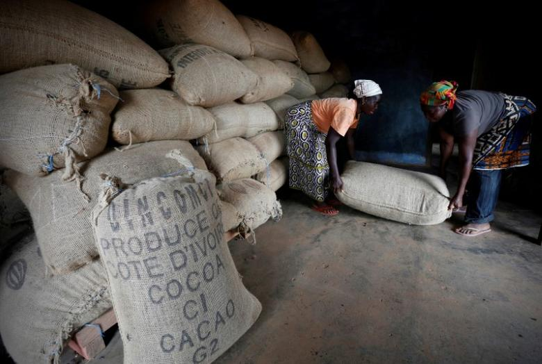 FILE PHOTO:  Women from a local cocoa farmers association lift a sack in a cocoa warehouse in Djangobo, Ivory Coast, November 17, 2014.   REUTERS/Thierry Gouegnon/File Photo