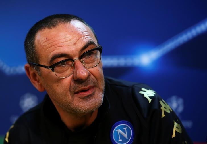 Football Soccer - Napoli news conference - Champions League -  Napoli's training center, Naples, Italy - 6/3/17 Napoli's coach Maurizio Sarri attends a news conference. REUTERS/Alessandro Bianchi