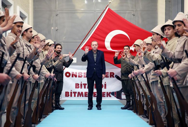 Turkish President Tayyip Erdogan arrives for a meeting in Istanbul, Turkey, March 5, 2017. Murat Cetinmuhurdar/Presidential Palace/Handout via REUTERS