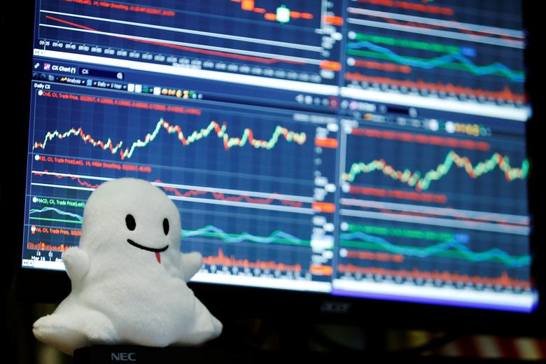 A stuffed ghost rests on a trader's screen above the floor of the New York Stock Exchange (NYSE) after Snap Inc. listed their IPO in New York, U.S., March 2, 2017.  REUTERS/Lucas Jackson