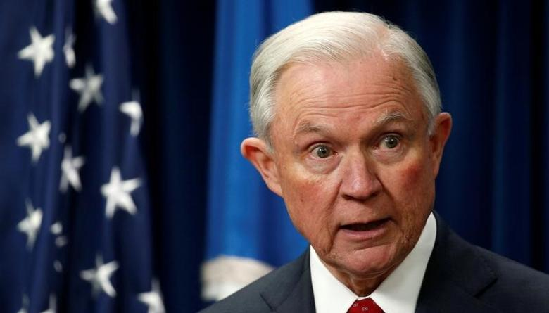 U.S. Attorney General Jeff Sessions speaks on issues related to visas and travel after U.S. President Donald Trump signed a new travel ban order in Washington, U.S., March 6, 2017. REUTERS/Kevin Lamarque