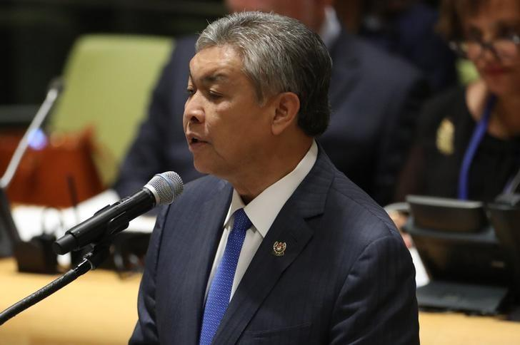 Deputy Prime Minister Ahmad Zahid Hamidi of Malaysia speaks during a high-level meeting on addressing large movements of refugees and migrants at the United Nations General Assembly in Manhattan, New York, U.S. September 19, 2016. REUTERS/Carlo Allegri/Files