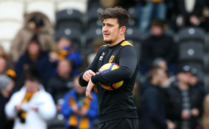 Britain Football Soccer - Hull City v Burnley - Premier League - The Kingston Communications Stadium - 25/2/17 Hull City's Harry Maguire warms up before the game Reuters / Scott Heppell Livepic/File Photo